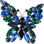 Stunning Vintage Juliana Butterfly Brooch Blues and Greens