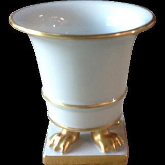 Herend Vintage Porcelain Golden Claw Footed White Cache Pot Vase