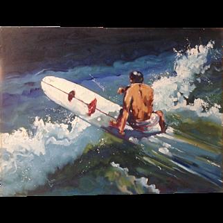 Original California Surfer Art Oil Painting by Norm Daniels