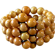 Vintage Butterscotch Bakelite Bead Wrap Bracelet