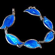 Vintage David Andersen Bracelet Sterling Silver Blue Guilloche  Enamel