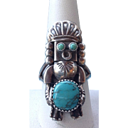 Vintage Signed Navajo Sterling Silver Turquoise Kachina Ring Size 9.5