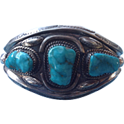 Gorgeous Vintage Mary S Lew Navajo Sterling Silver Turquoise Cuff Bracelet