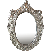 Ornate Sterling Silver Picture Photo Mirror Frame Figural Repousse large