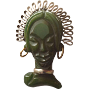Vintage Carved Bakelite and Metal African Head Brooch
