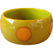 Chunky Vintage Bakelite Polka Dot Bracelet