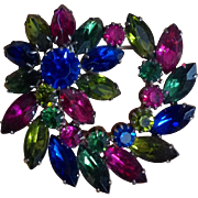 Stunning Vintage Pink Blue Green Rhinestone Pinwheel Flower Brooch