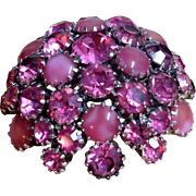 Vintage Warner Pretty in Pink Big Domed Rhinestone Brooch