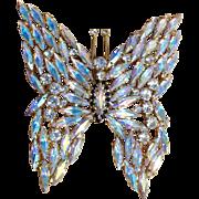Huge Vintage Aurora Borealis Rhinestone Butterfly Brooch Pendant