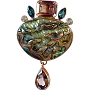 Sterling Silver Mother of Pearl Amethyst Pendant Semi Precious Stones