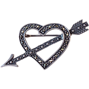 Vintage Sterling Silver Marcasite Heart Valentine Pin