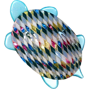 Fab Lea Stein Paris Turtle Pin in Aqua and Pink
