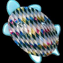 Fab Lea Stein Paris Turtle Pin in Aqua and Pink