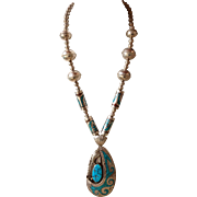 Spectacular William Singer Navajo Squash Blossom Pendant Necklace Sterling Turquoise Coral