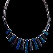 Boho Azurite and Hematite Bead Fringe Necklace