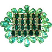 Large Sparkling Green Vintage Rhinestone Brooch