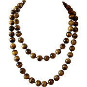 Vintage Long Tiger's-eye Quartz Beaded Hand Knotted Rope Length Necklace