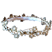 Vintage Rhinestone and Faux Pearl Wedding Tiara Crown Hair Decor