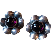 Vintage Sterling Silver Amethyst Screw Back Flower Earrings