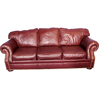 Transitional Brown Genuine Leather Sofa Nailhead Trim Loveseat Settee Couch Chaise Vintage