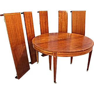 5-Leaf Extension Sheraton Style Inlaid Round Dining Table