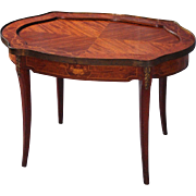 Walnut Marquetry Neoclassical Bronze Mounted Coffee End Side Table