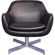 Eames Faux Leather Black Lounge Office Chair Armchair Side Mid Century Modern