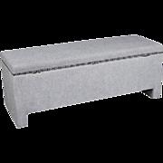 "48""W Grey Upholstered Storage Bench Trunk Settee Sofa Vintage Mid Century Modern"
