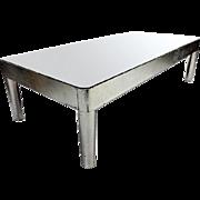 "60""L Swedish Mid Century Modern Silver Mirror Glass Top Coffee Table Vintage"