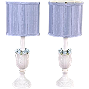 Pair 2 Porcelain Blue White Floral Table Lamps Modern Vintage Home Decor Vases