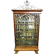 Baroque Iron Cherry Display Curio China Cabinet Breakfront Bookcase Victorian