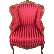 French Louis XV Style Red Upholstered Bergere Chair Armchair Provincial Fauteuil