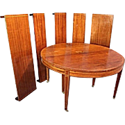 5-Leaf Extension Sheraton Style Inlaid Round Dining Table Coffee Antique Vintage