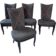 Set 4 Four Oversized Black Ultra Suede Dining Side Chairs Modern Leather Chaise