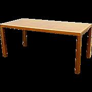"72""L Silky Oak Desk Secretary Writing Conference Table Console Mid Century Moder"