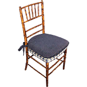 Faux Bamboo Mid Century Modern Side Chair Armchair Sofa Chaise Asian Vintage