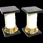 Pair 2 Mastercraft Lacquer Brass Pedestal Tables Black White Mid Century Modern