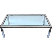 1960s 70s PACE Chrome Glass Top Coffee Cocktail Table Mid Century Modern Vintage