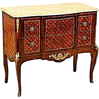 Bronze Mounted Marquetry Louis XVI Marble Top Commode Sideboard Buffet French