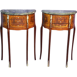 Pair 2 French Louis XV Marble Top End Side Tables Pedestal Console Nightstands