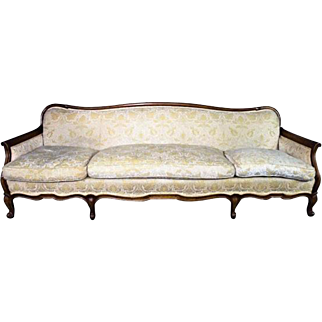 "Large 87""W WIDDICOMB Mid Century French Provincial Sofa Loveseat Chaise Chair"