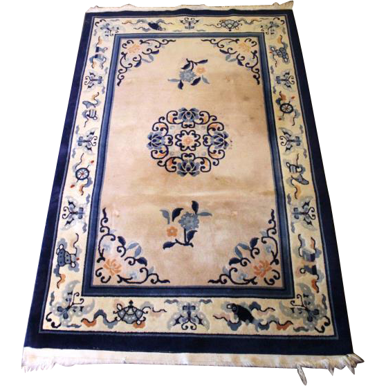 4x6 HANDMADE CHINESE Style ORIENTAL Blue Area Rug Carpet Vintage Antique Decor