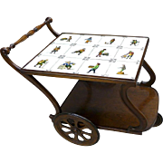 1940s Antique Tea Cart Server Art Tile Top Tray Tea Bar End Side Console Table