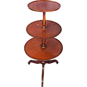 Antique Sheraton Style 3 Tier Mahogany Dumbwaiter Table Side End Coffee Vintage
