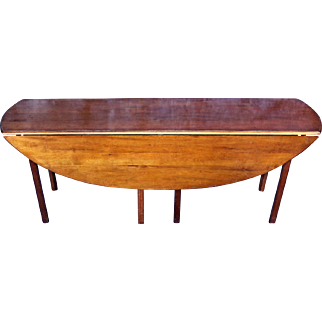 "WRIGHT Cherry 79""L Hunt Drop Leaf Dining Table Console Side Sofa Server Vintage"