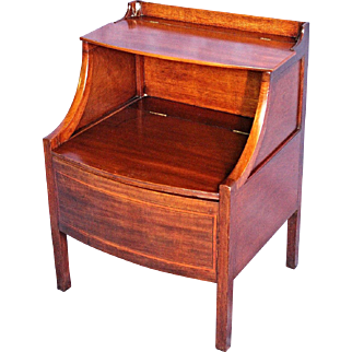 1840 English Early Antique Mahogany Commode Nightstand End Side Table Cabinet