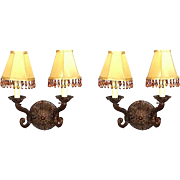 Pair 2 Baroque Rococo Style Bronze Crystal Sconces Lighting Lamp Wall Fixture
