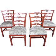 Four 4 red painted ANTIQUE VINTAGE side dining room chairs set armchair end sofa