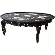 "Pearl Inlay Black Lacquered 36""D Chinese Folding Low Coffee Table Antique Center"