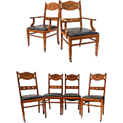 Set Six 6 FRANCO SCERBO Art Deco Oak Dining Chairs Side Armchair Vintage Antique